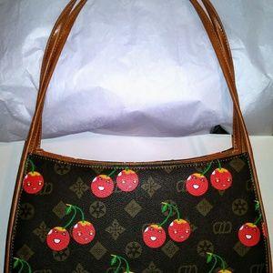 AD handbag, Brown and Tan with Smiling Cherries